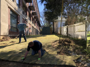 Mansell Crew Laying Sod | Mansell Landscape Managment